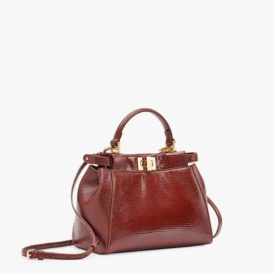 FENDI PEEKABOO ICONIC MINI - Brown lizard bag - view 2 detail