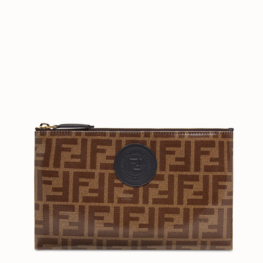 FENDI MEDIUM FLAT POUCH - Brown fabric pouch - view 1 detail