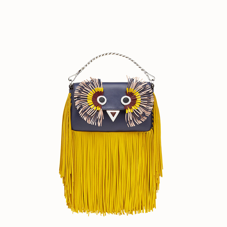 FENDI MICRO BAGUETTE - Blue leather micro-bag with fringe - view 1 detail