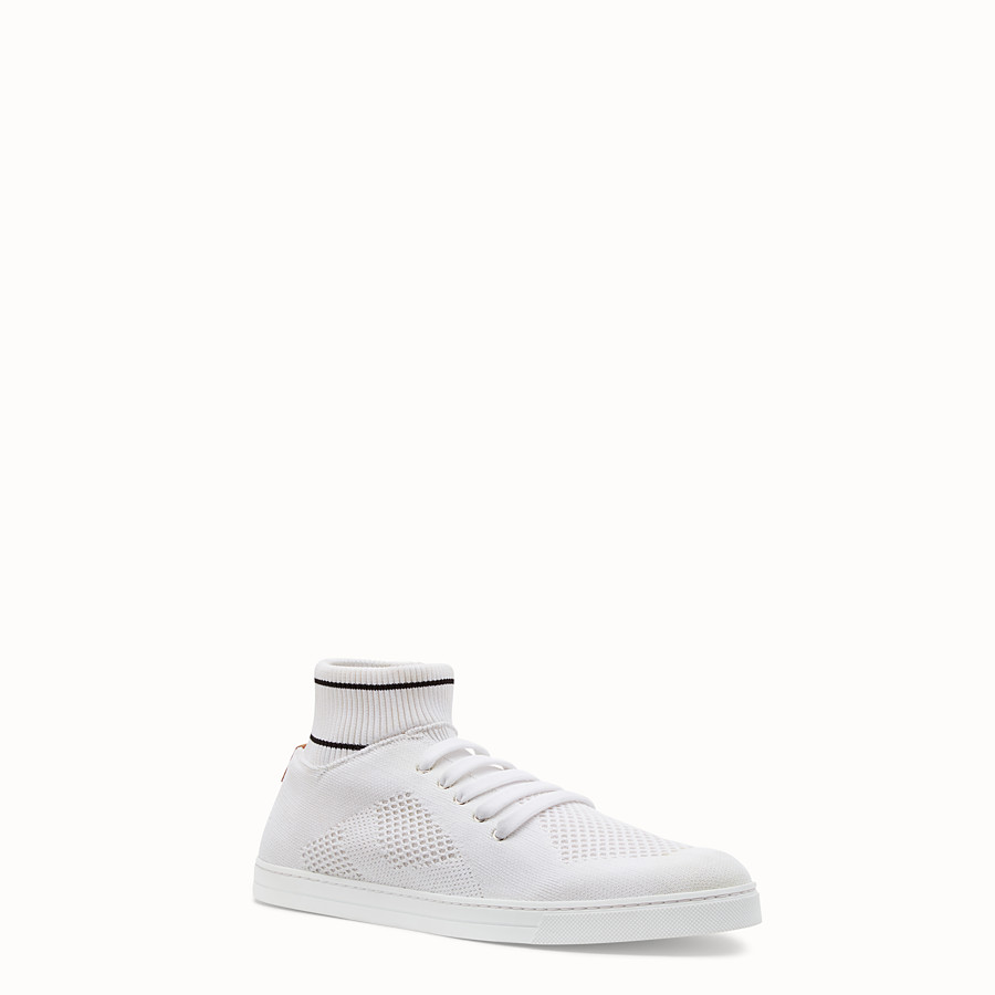 FENDI SNEAKERS - White tech knit low-tops - view 2 detail