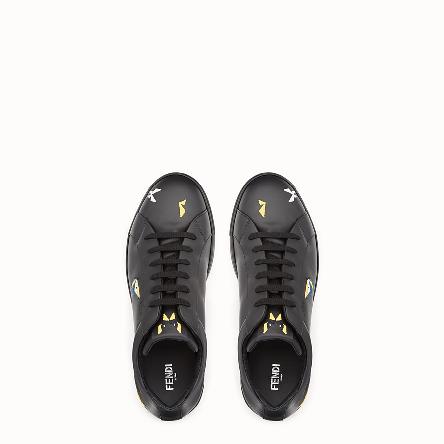 FENDI SNEAKER - Black leather lace-ups with embroidery - view 4 detail
