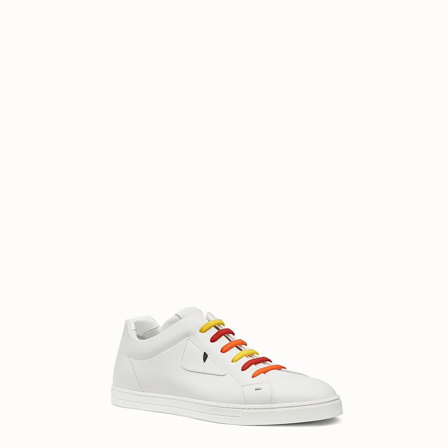 FENDI SNEAKER - White lace-ups with multicolour laces - view 2 detail