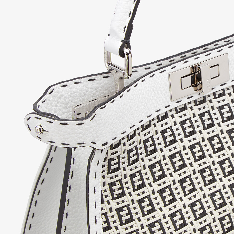 FENDI PEEKABOO ISEEU MEDIUM - Black and white braided leather bag - view 6 detail