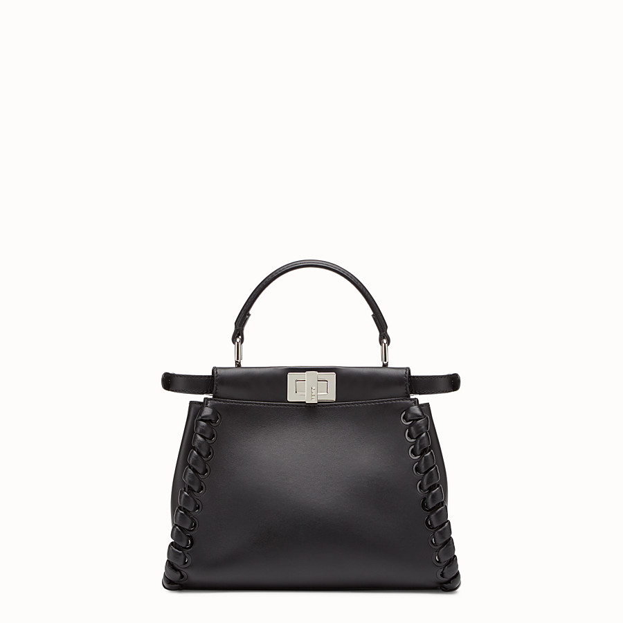 FENDI PEEKABOO ICONIC MINI - black nappa handbag with weave - view 3 detail