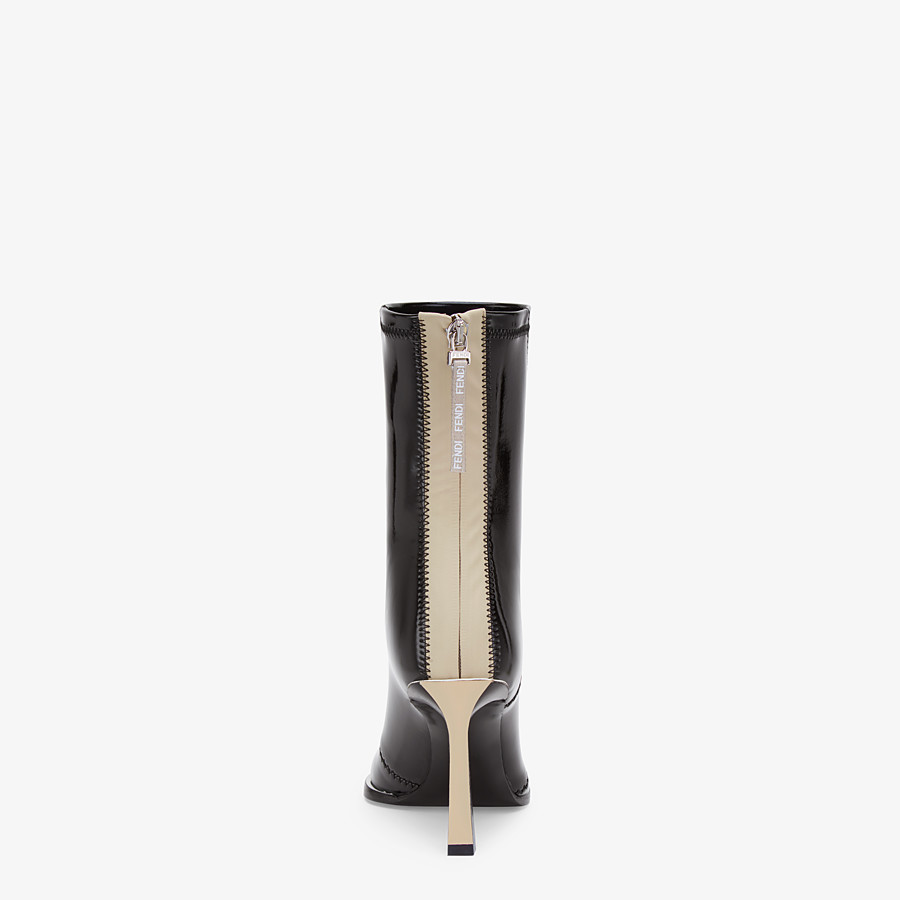 FENDI ANKLE BOOTS - Glossy black neoprene ankle boots - view 3 detail