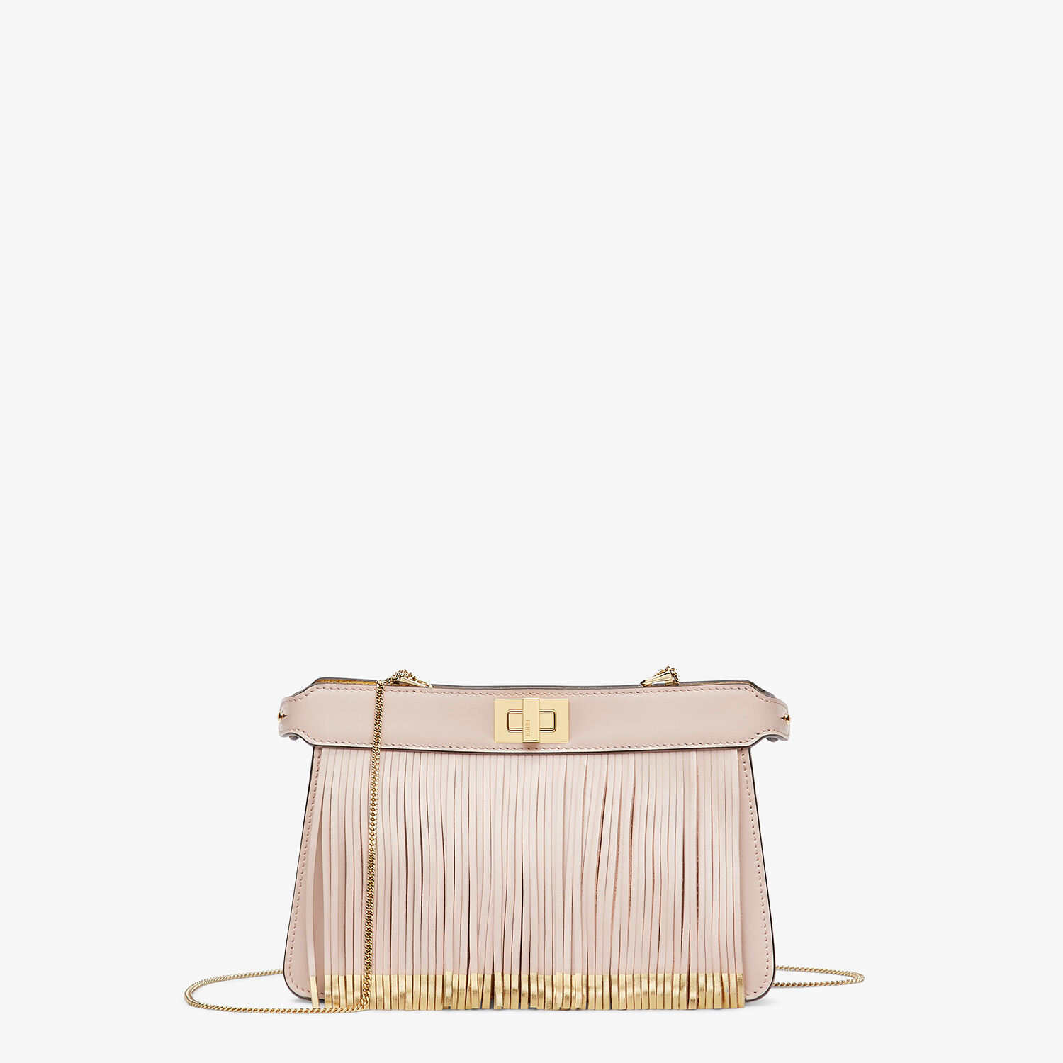 FENDI PEEKABOO I SEE U POCHETTE - Pink leather bag with fringes - view 1 detail
