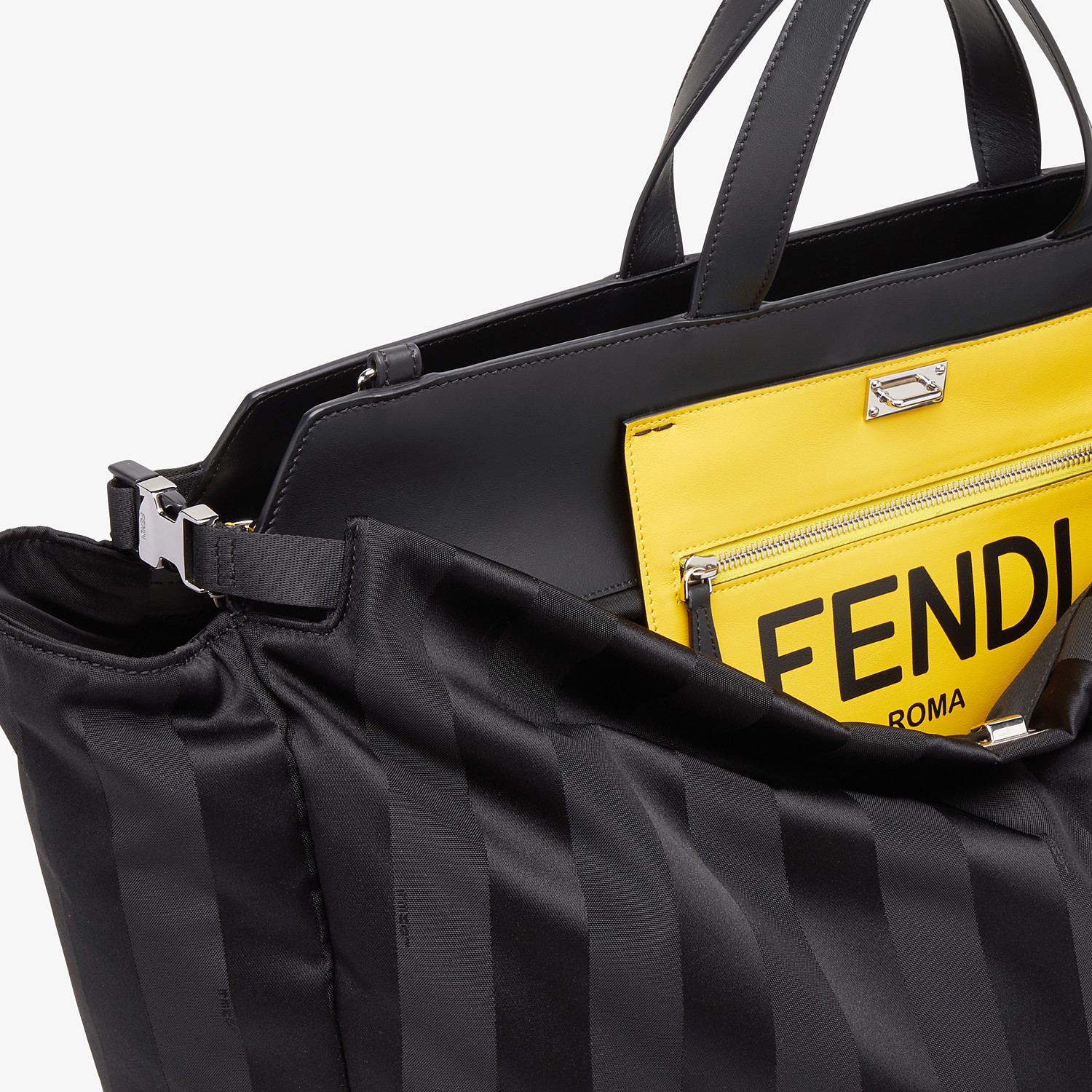 FENDI PEEKABOO ICONIC LARGE - Black nylon bag - view 6 detail