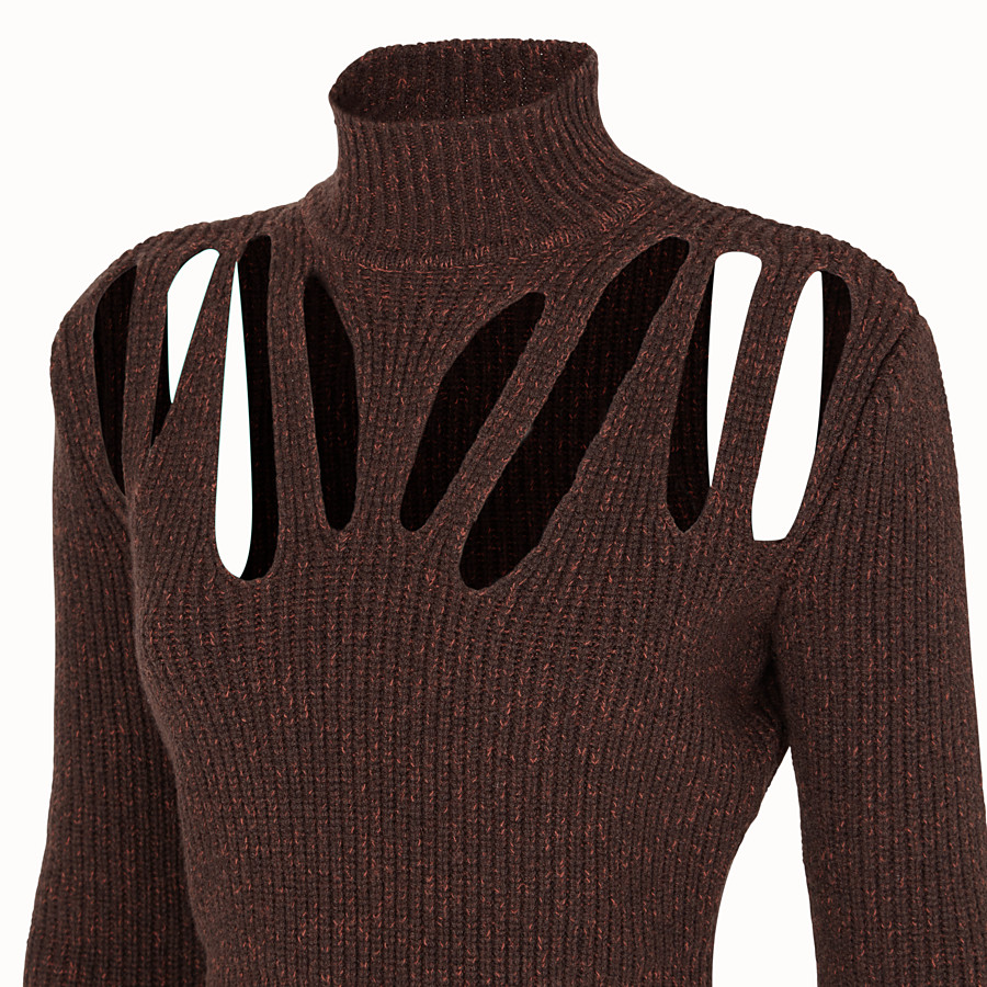 FENDI PULLOVER - Brown cashmere and wool jumper - view 3 detail