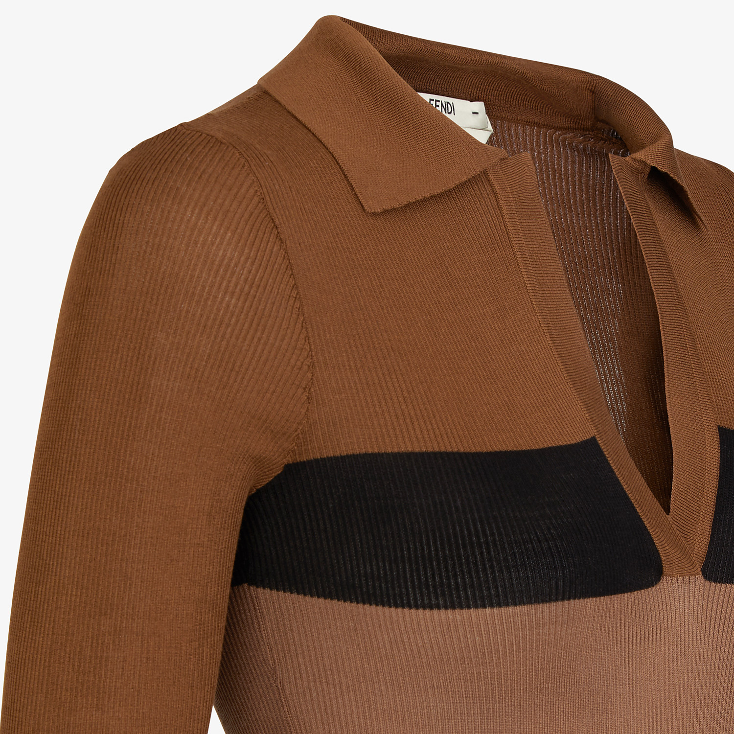 FENDI SWEATER - Brown silk sweater - view 3 detail