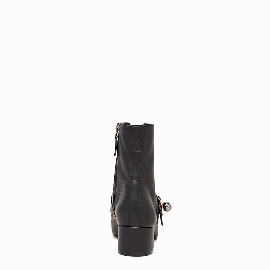 FENDI ANKLE BOOTS - Black leather ankle boots - view 3 detail