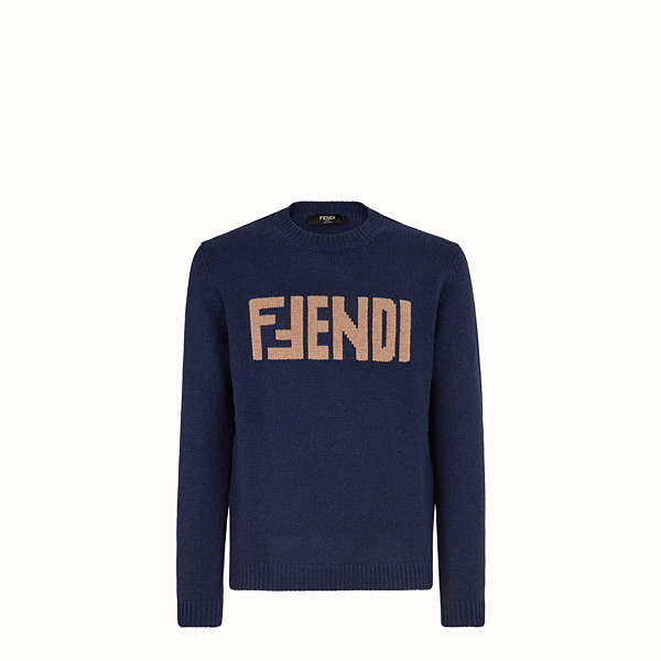 FENDI PULLOVER  - Blue cashmere jumper - view 1 small thumbnail