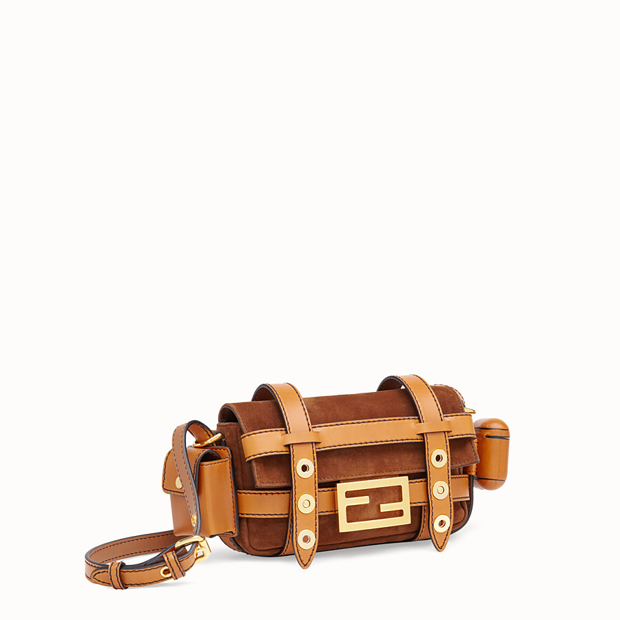 FENDI MINI BAGUETTE WITH CAGE - Brown suede and leather bag - view 4 detail