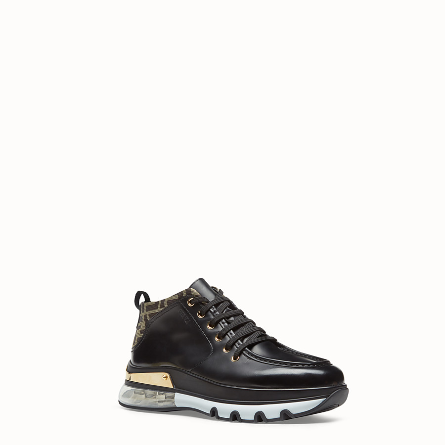 FENDI SNEAKERS - Black leather lace-up - view 2 detail