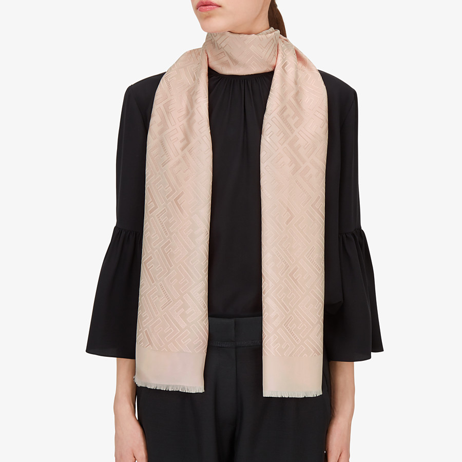 FENDI SIGNATURE STOLE - Stole in pink silk - view 3 detail