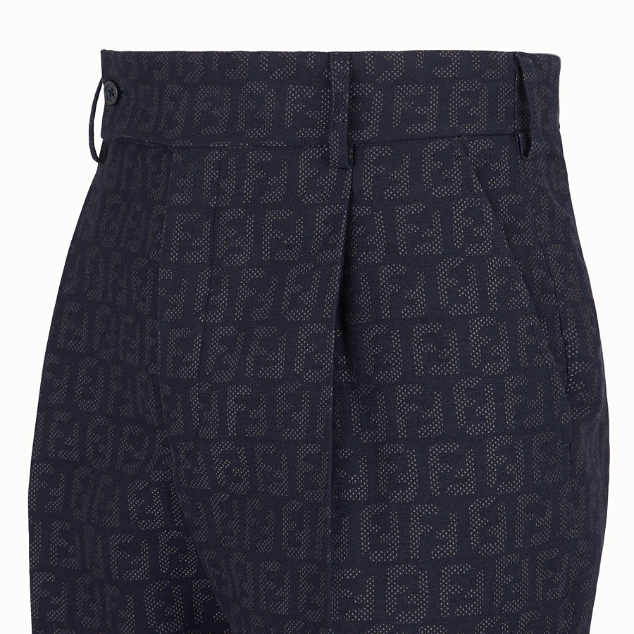 FENDI TROUSERS - Blue fabric trousers - view 3 detail