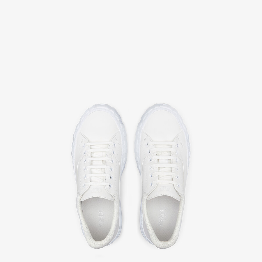 FENDI FENDI FORCE - White fabric and leather low tops - view 4 detail