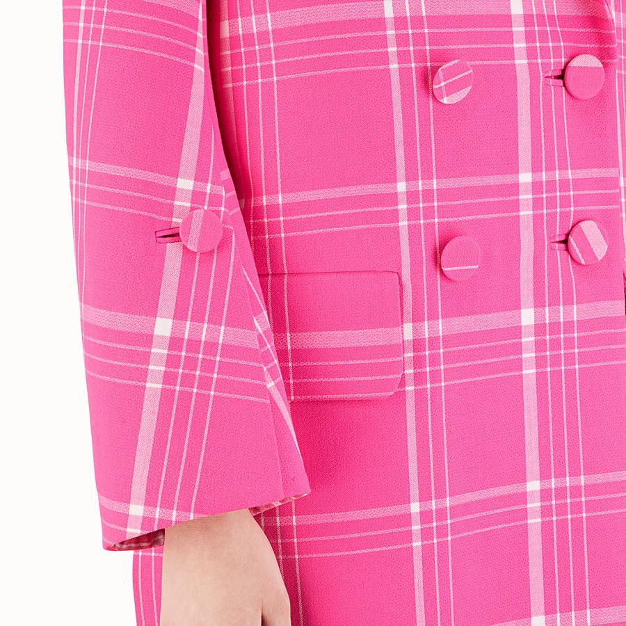 FENDI MANTEAU LONG - Manteau en laine tartan fuchsia - view 3 detail