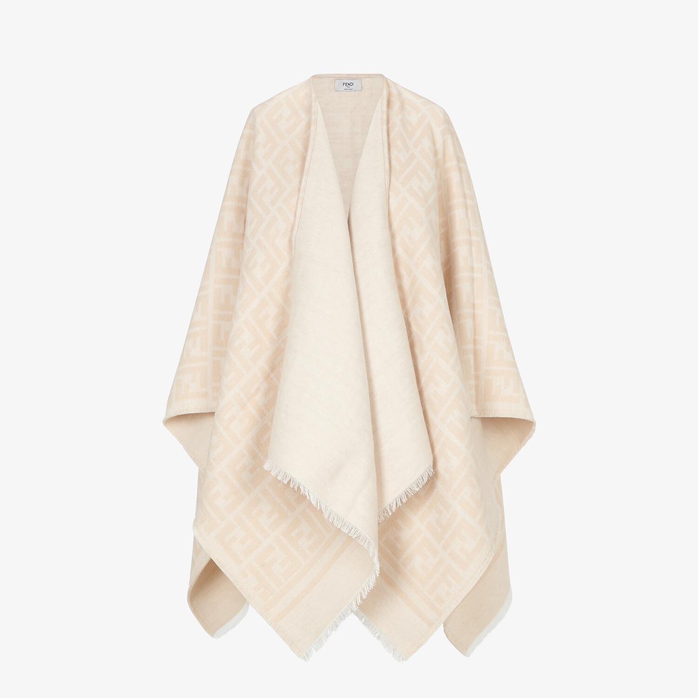 FENDI PONCHO - Poncho in beige wool and silk - view 1 detail