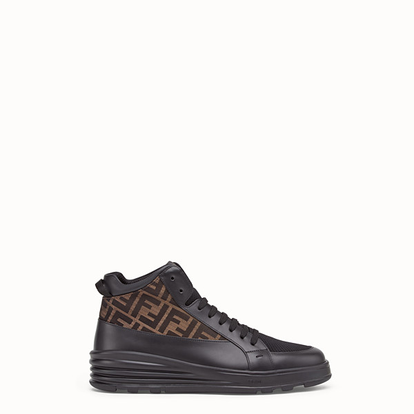 FENDI SNEAKERS - Black leather mid-top - view 1 small thumbnail