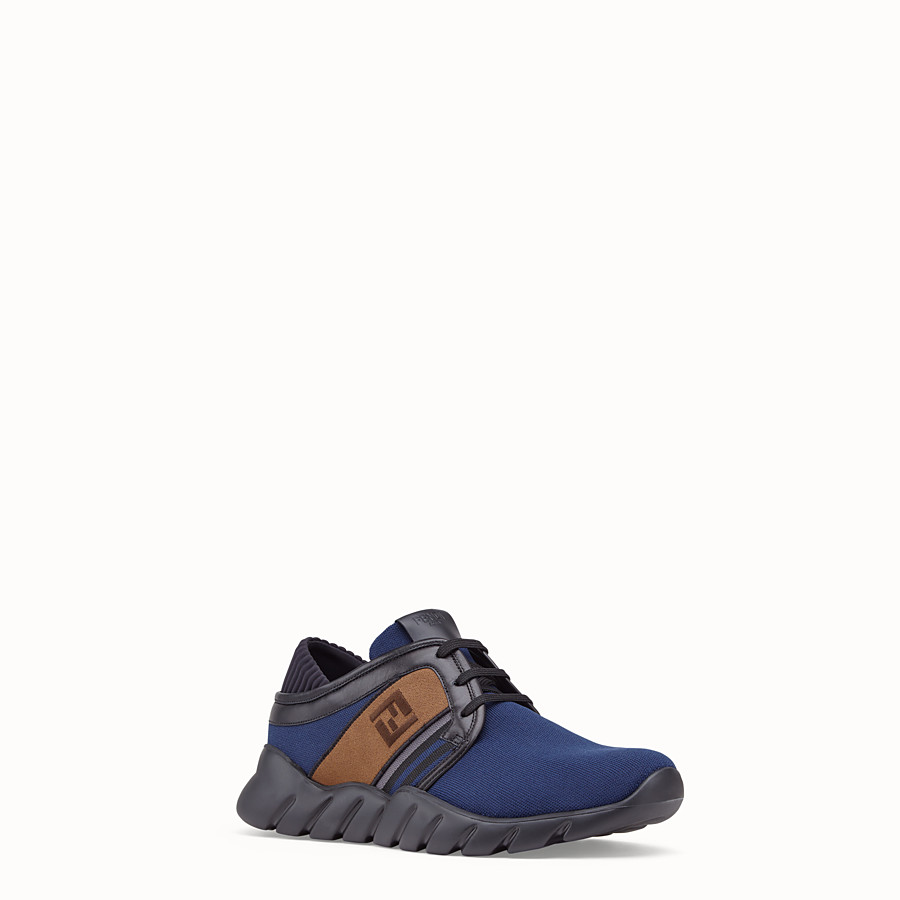 FENDI SNEAKERS - Blue tech fabric sneakers - view 2 detail