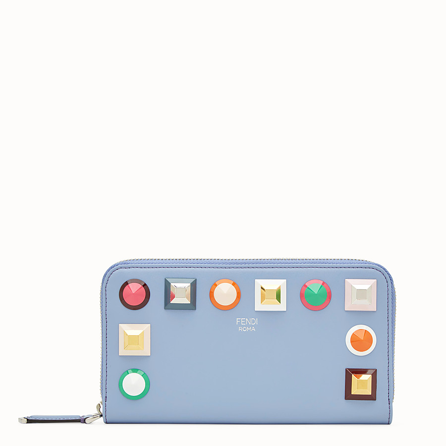 FENDI ZIP-AROUND - Light blue leather wallet - view 1 detail