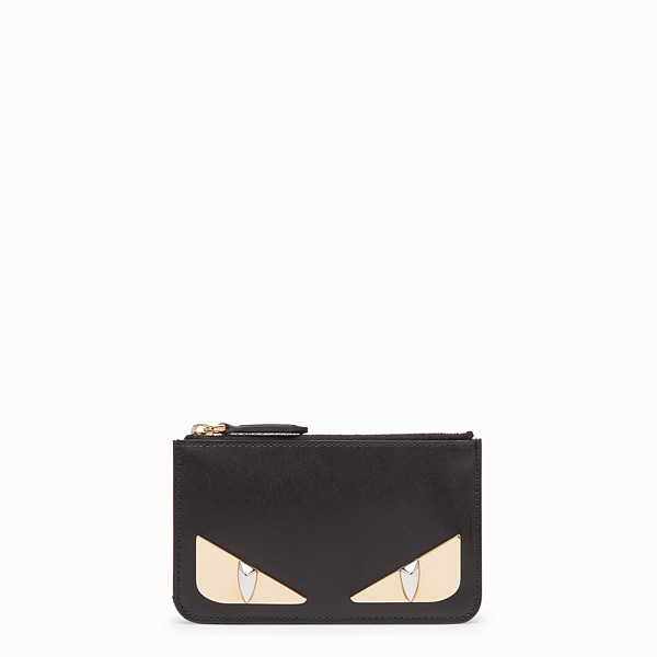 FENDI KEY RING POUCH - Black leather pouch - view 1 small thumbnail
