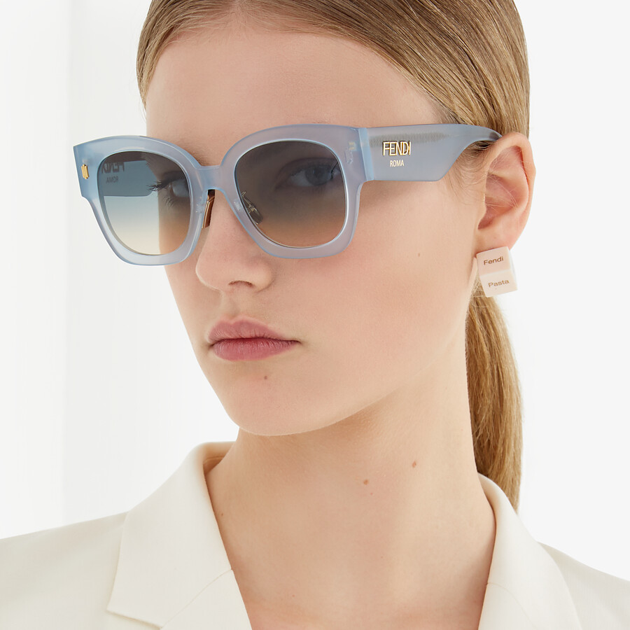 FENDI FENDI ROMA - Light blue acetate sunglasses - view 4 detail