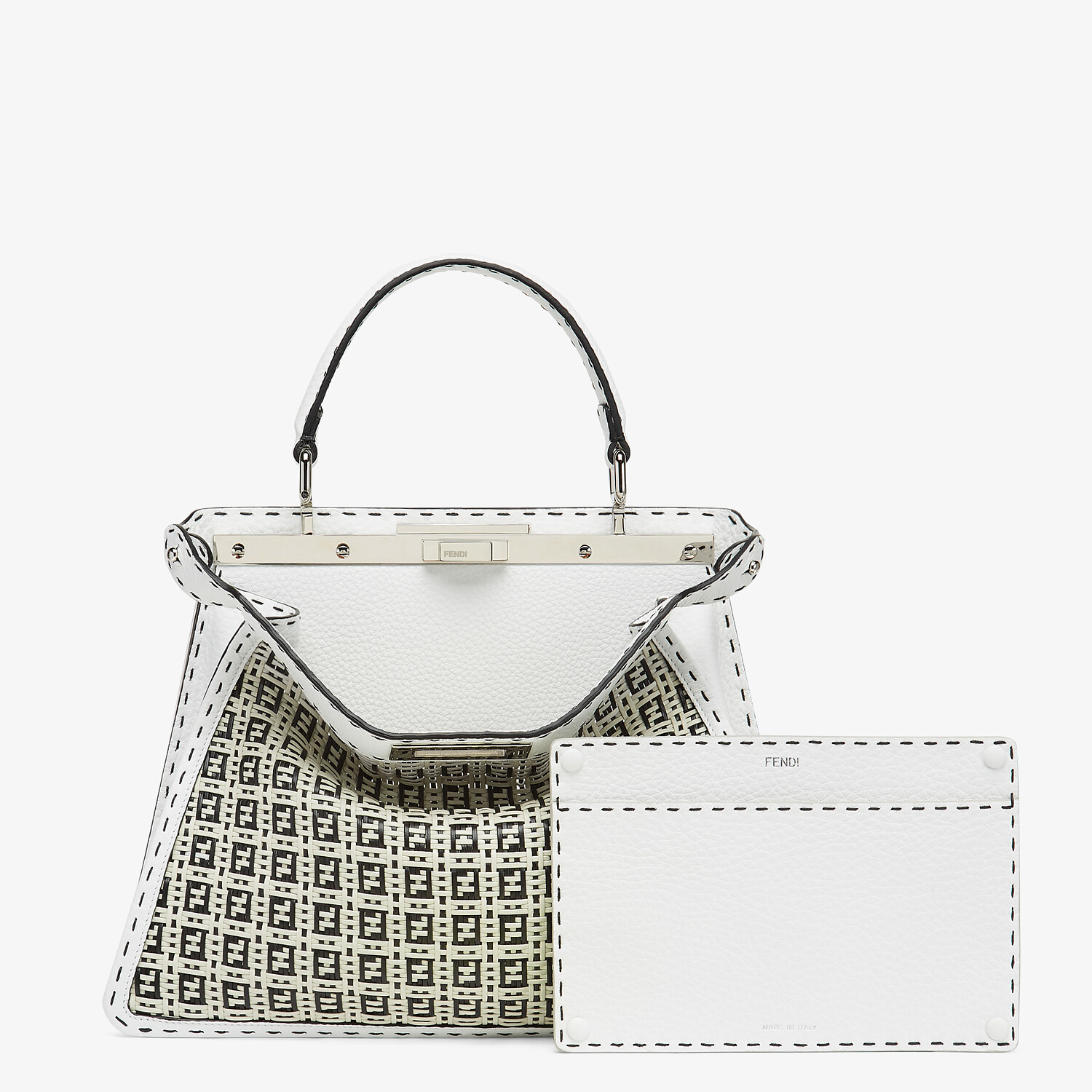 FENDI PEEKABOO ISEEU MEDIUM - Black and white braided leather bag - view 3 detail