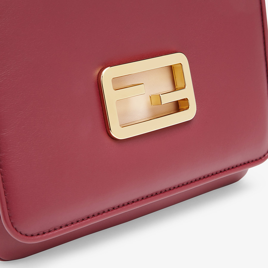 FENDI FENDI ID SMALL - Burgundy leather bag - view 6 detail
