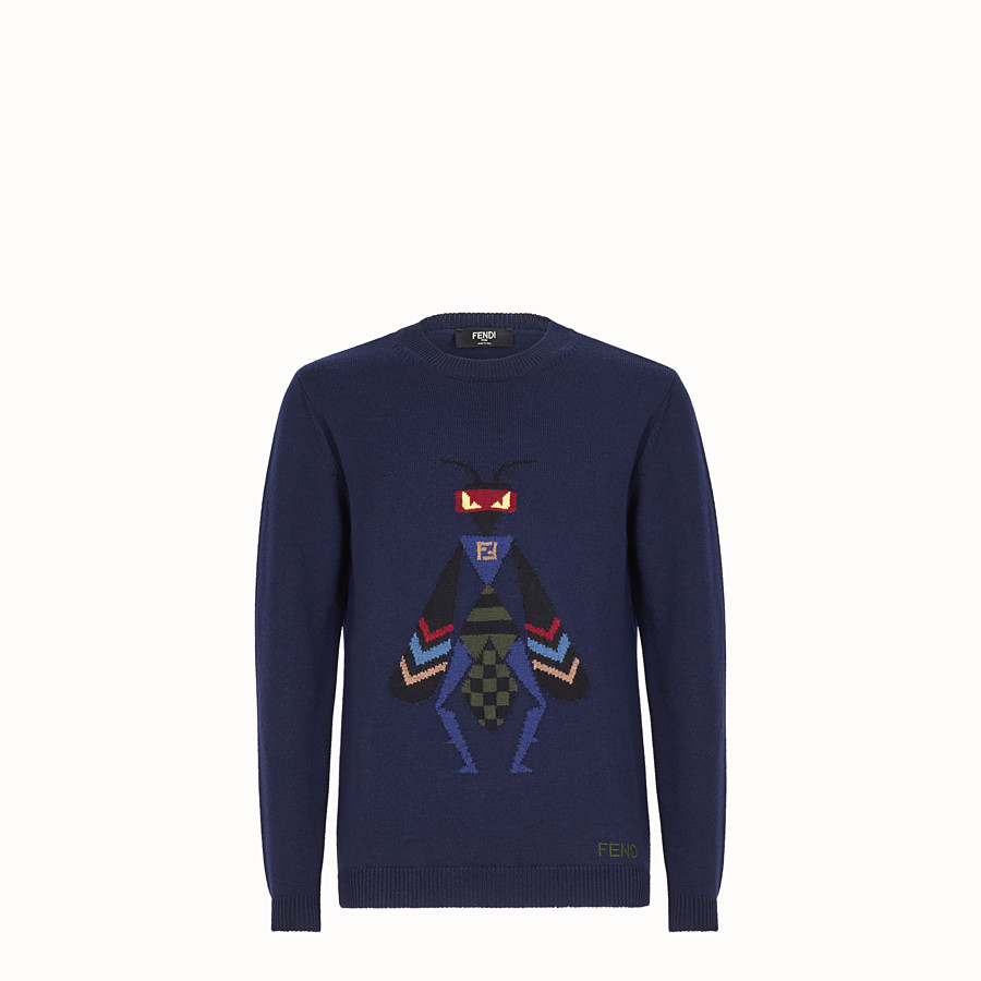 FENDI JUMPER - Blue wool jumper - view 1 detail