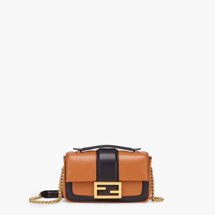 FENDI MINI BAGUETTE CHAIN - Brown and black nappa leather bag - view 1 detail