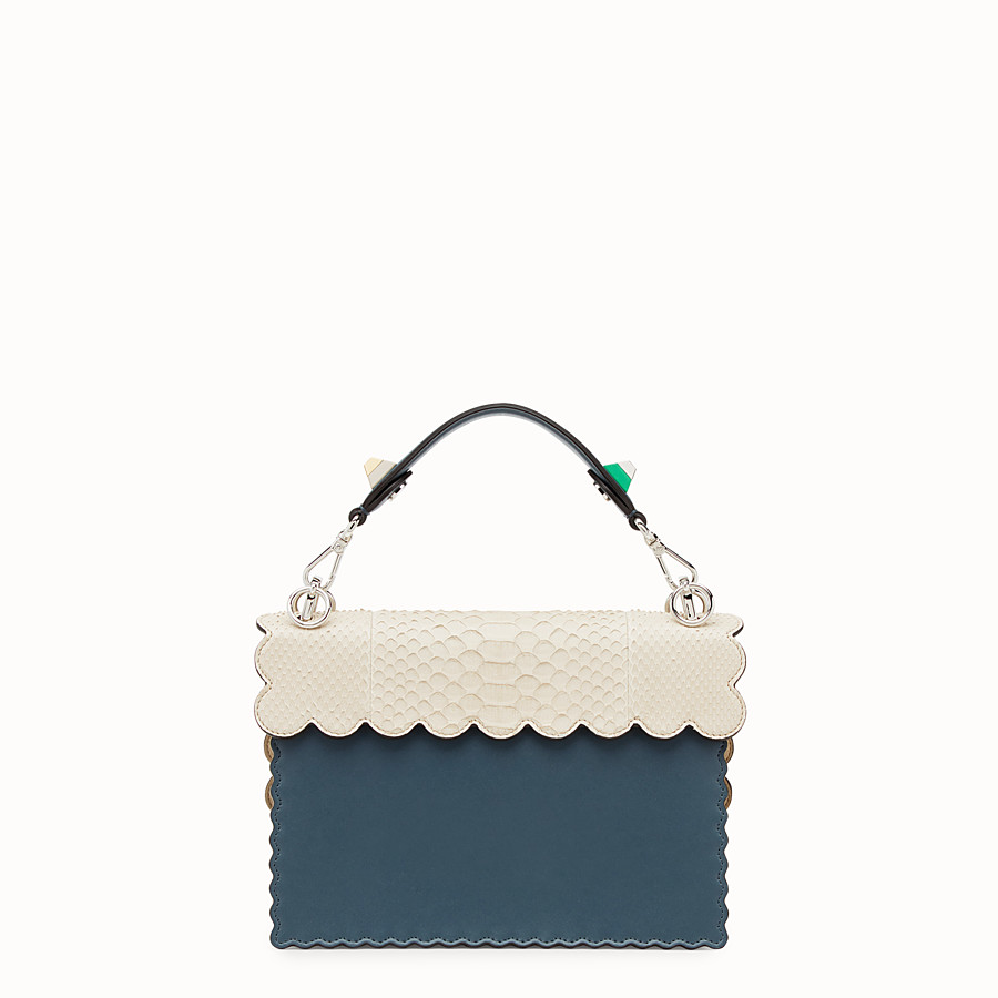 FENDI KAN I - Blue leather bag with exotic details - view 3 detail