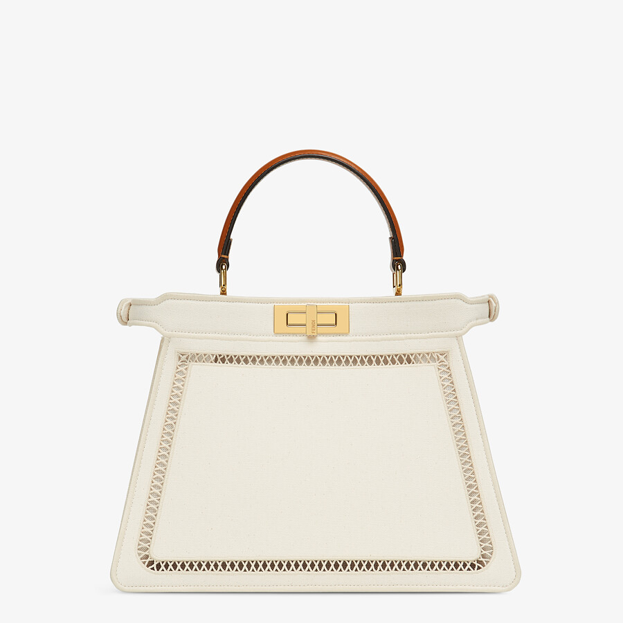 FENDI PEEKABOO ISEEU MEDIUM - White canvas bag with embroidery - view 6 detail