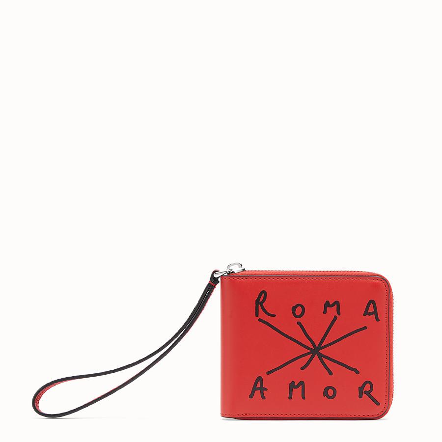 FENDI 全拉鏈式皮夾 - 紅色皮革皮夾 - view 1 detail