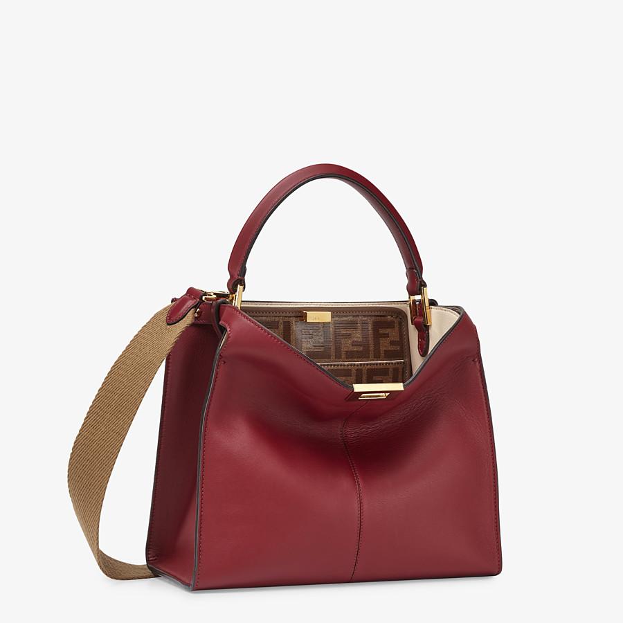 FENDI MEDIUM PEEKABOO X-LITE - Burgundy leather bag - view 4 detail