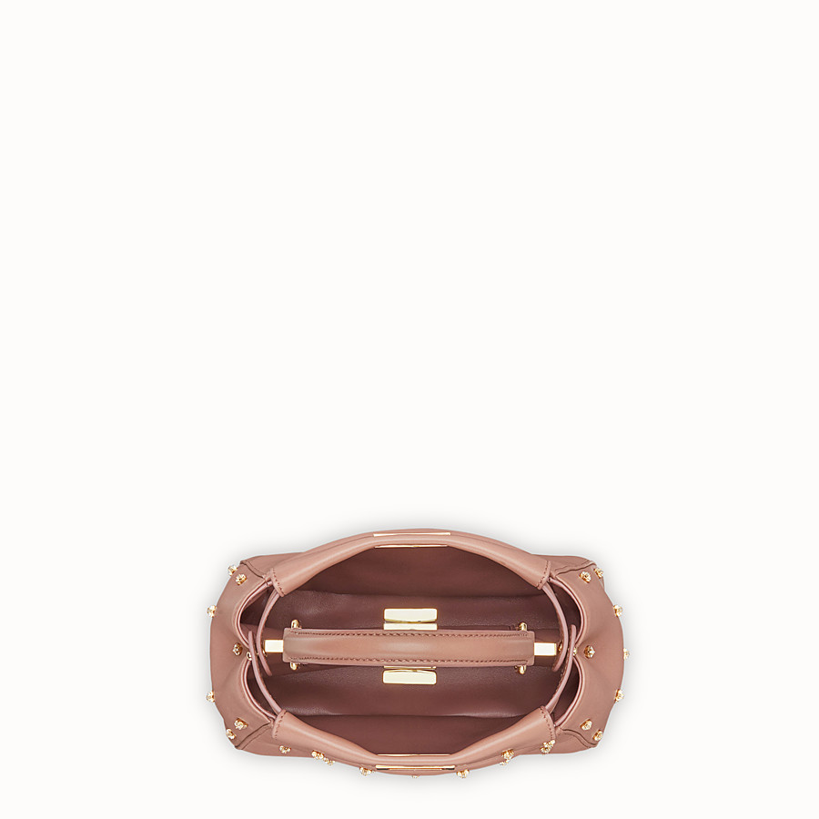 FENDI PEEKABOO ICONIC XS - Pink leather mini-bag - view 4 detail