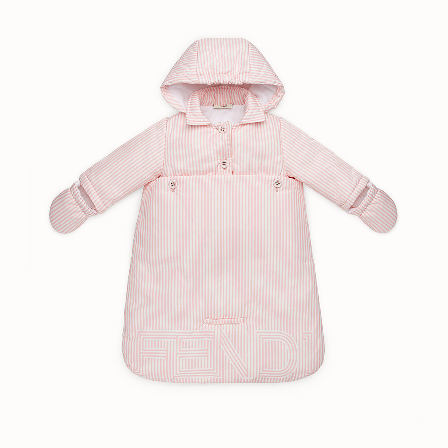 FENDI FOOTMUFF - Baby girl's striped ivory and pink padded footmuff - view 1 detail