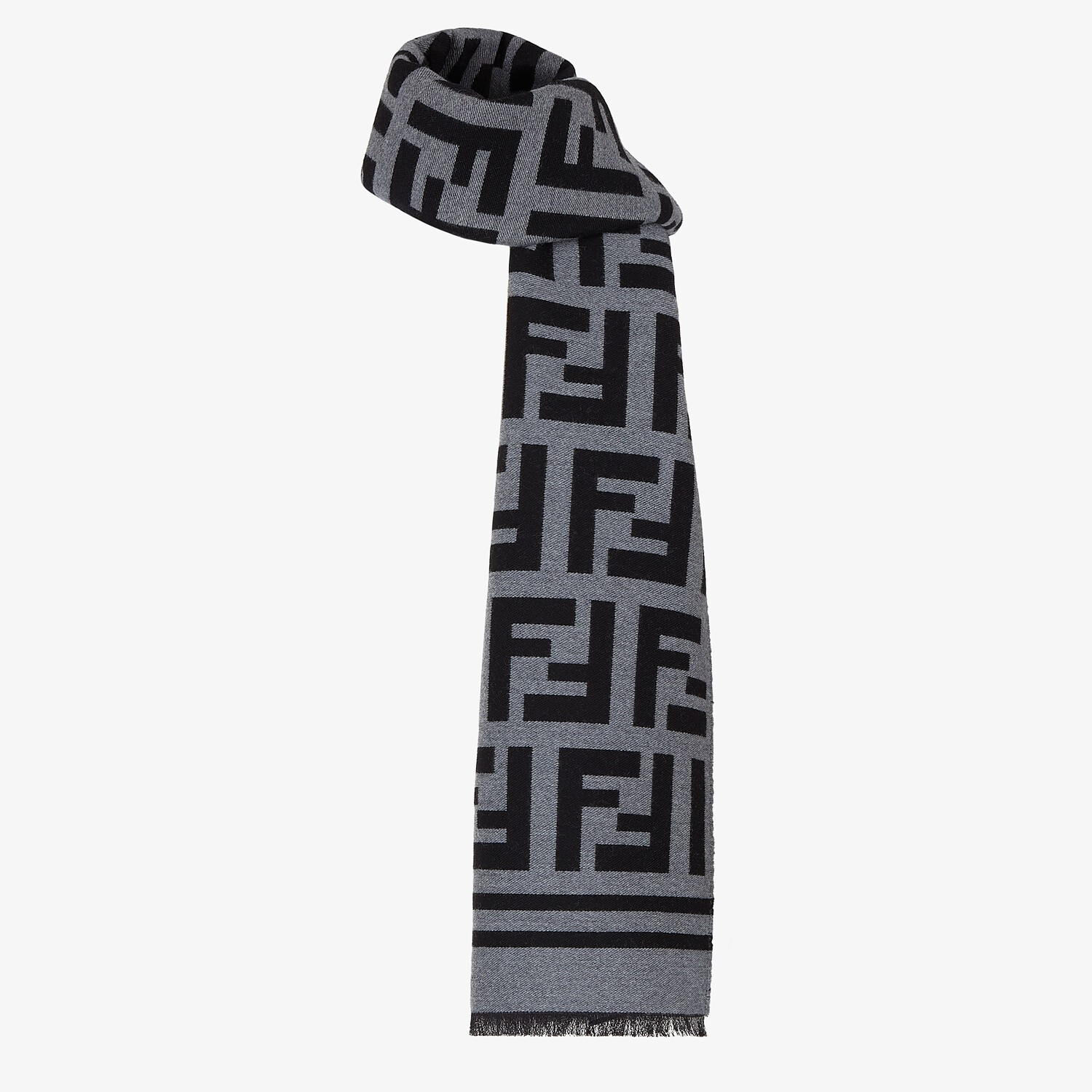 FENDI SCARF - Black wool scarf - view 2 detail