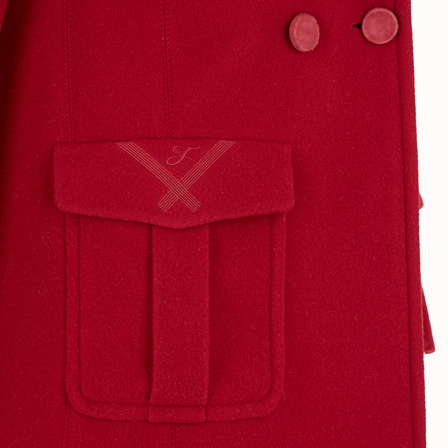 FENDI COAT - Red wool pea coat - view 3 detail