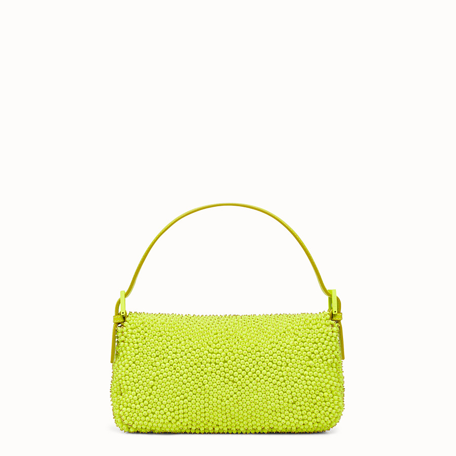 FENDI BAGUETTE - citron yellow shoulder bag decorated all over - view 3 detail