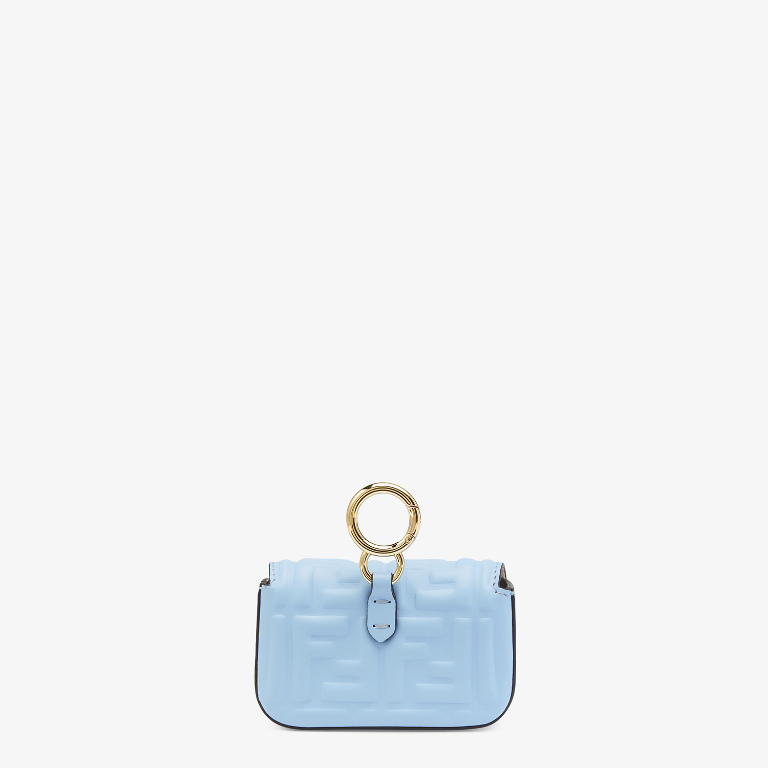 FENDI NANO BAGUETTE CHARM - Light blue nappa leather charm - view 3 detail