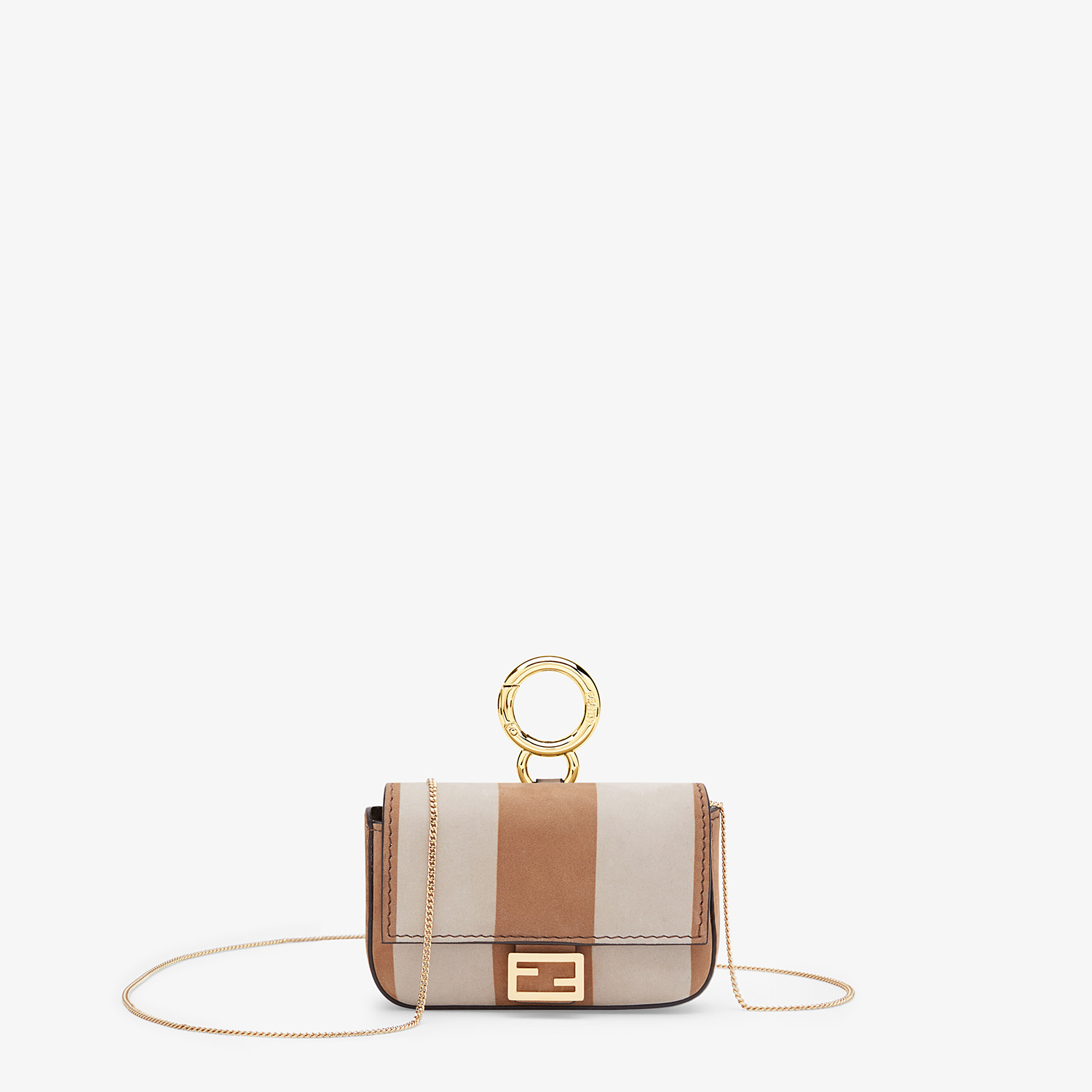 FENDI NANO BAGUETTE - Beige nubuck leather charm - view 1 detail