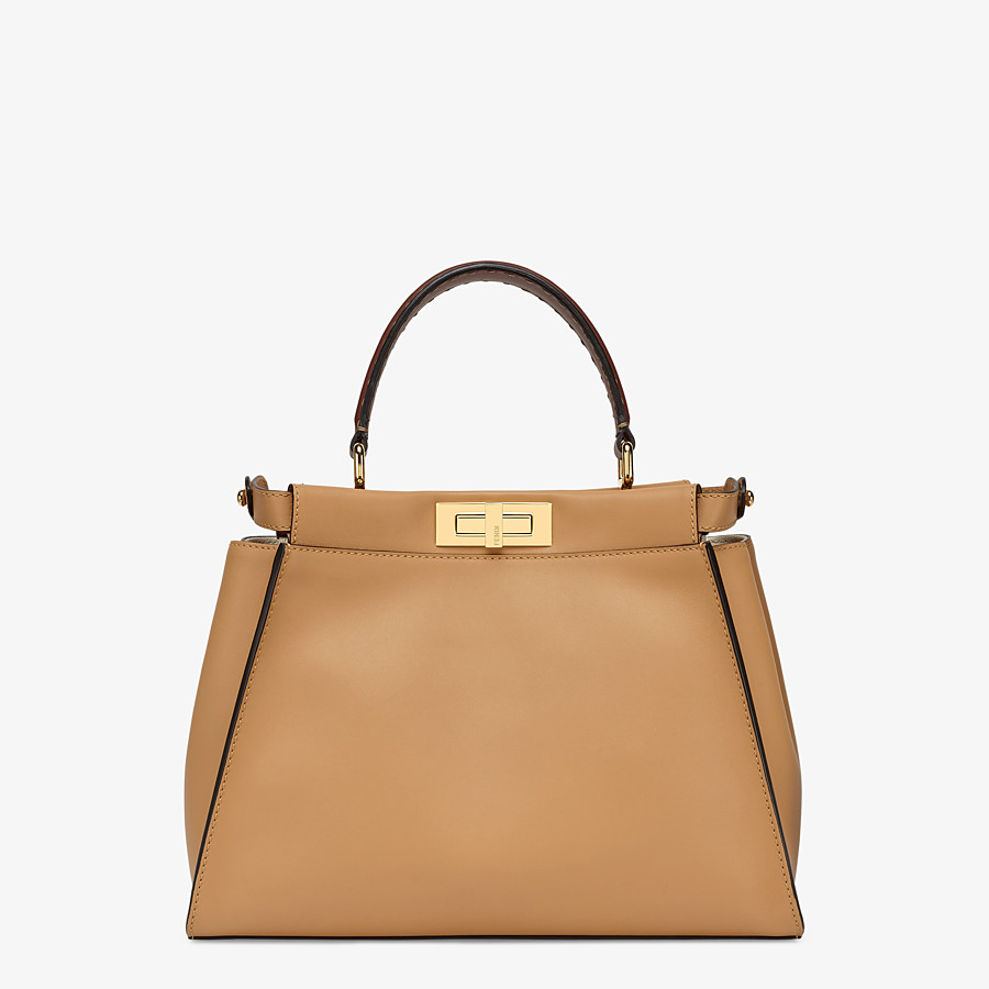 FENDI PEEKABOO ICONIC MEDIUM - Borsa in pelle beige e ricamo FF - vista 4 dettaglio