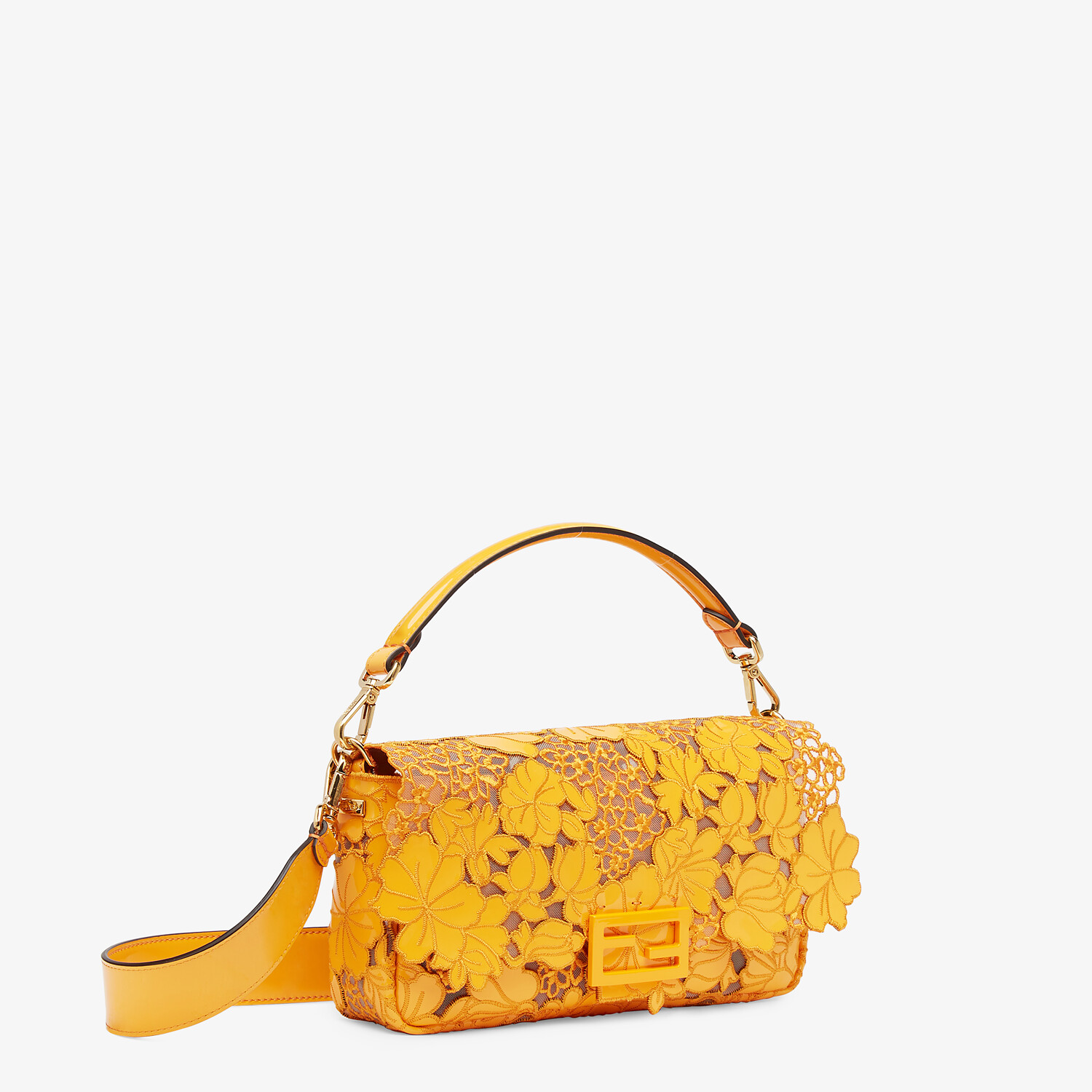 FENDI BAGUETTE - Embroidered orange patent leather bag - view 3 detail
