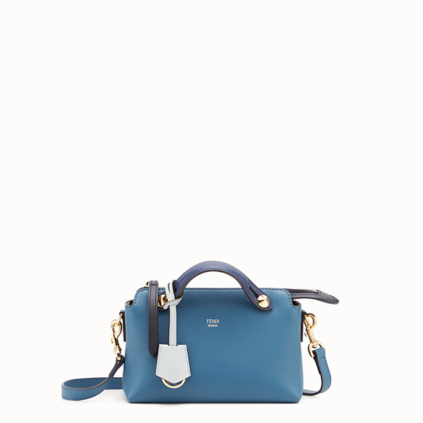 FENDI BY THE WAY MINI - Bauletto piccolo in pelle blu - vista 1 thumbnail piccola