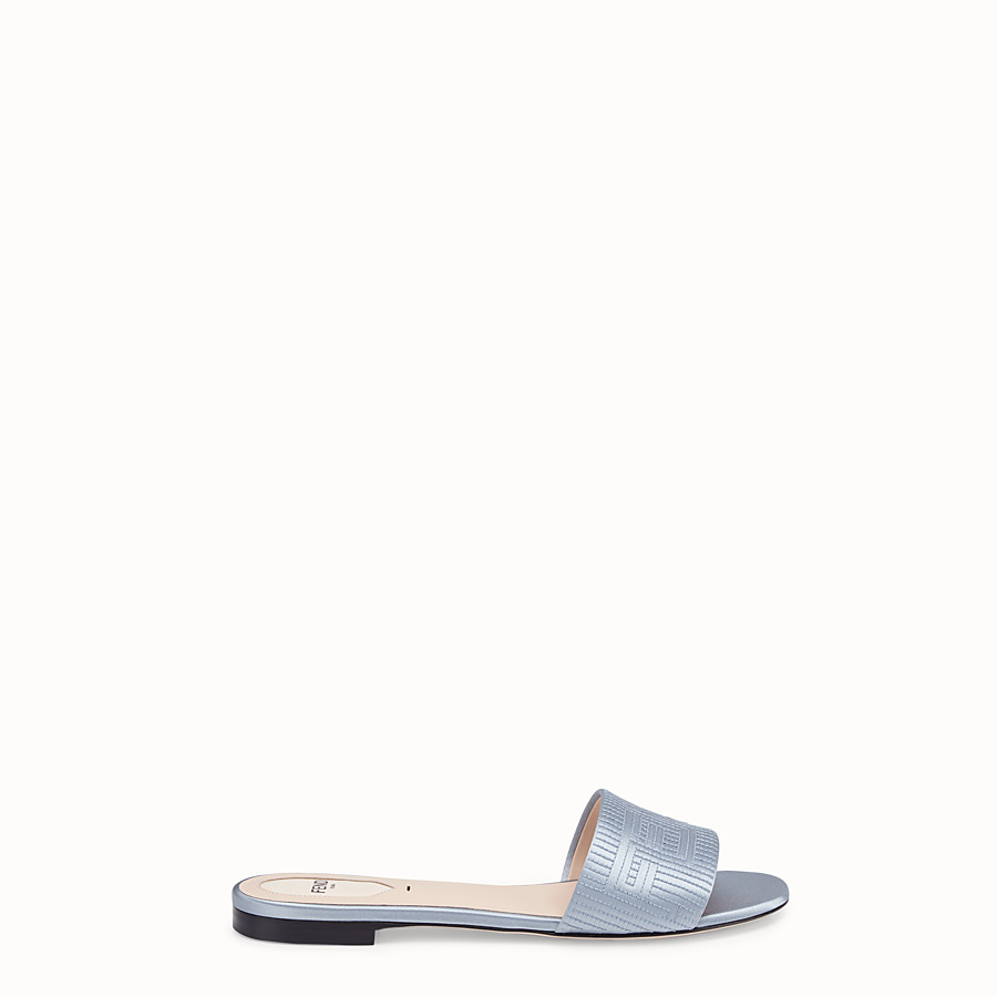 FENDI SABOTS - Grey satin slides - view 1 detail