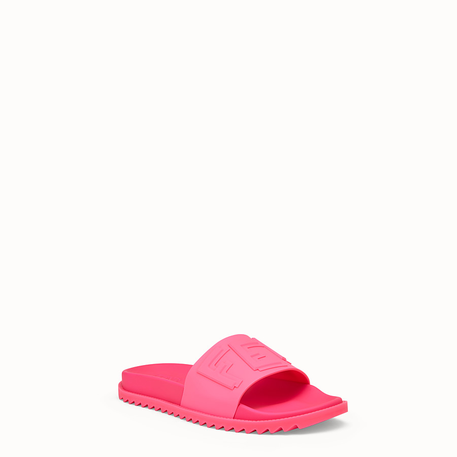 FENDI SLIDES - Pink rubber slides - view 2 detail