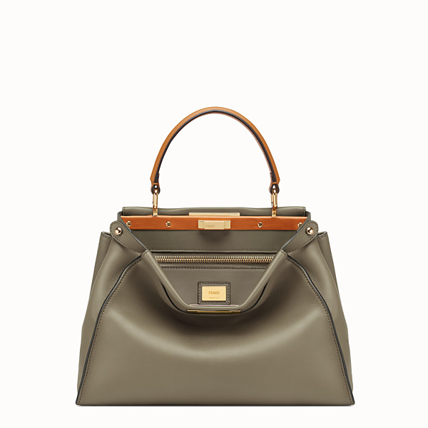 FENDI PEEKABOO ICONIC MEDIUM - Green leather bag - view 1 small thumbnail
