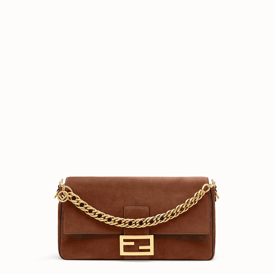 FENDI BAGUETTE WITH CAGE - Brown suede bag - view 3 detail