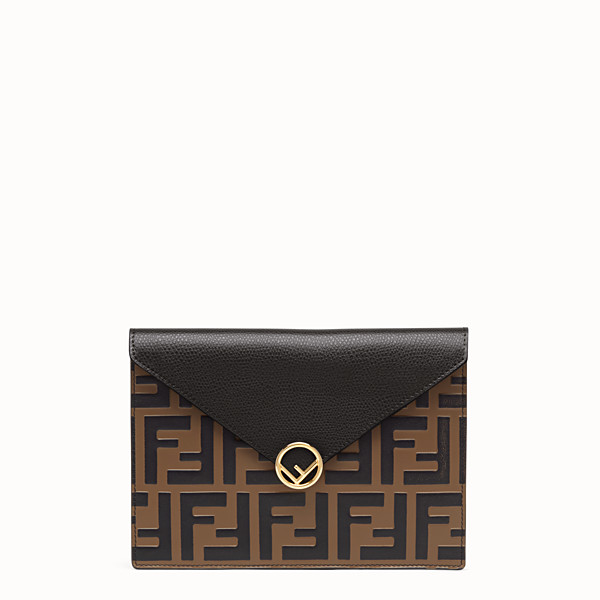 FENDI MEDIUM FLAT POUCH - Brown leather pouch - view 1 small thumbnail